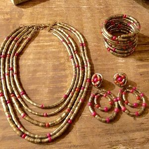 Chico's Set Bracelet clip on earrings and necklace